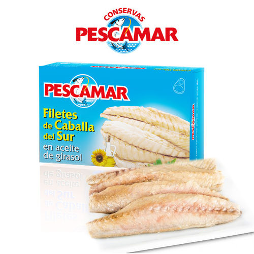 Mackerel fillets in sunflower oil PESCAMAR 115 G.