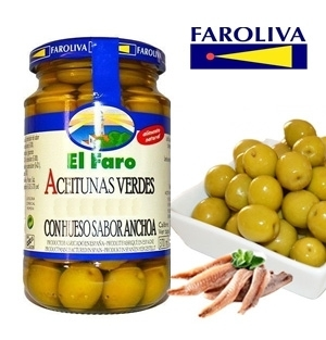 Green olives EL FARO flavor Anchovy 370 ml