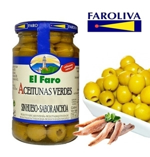 Green olives EL FARO flavor Anchovy without bone 370 ml