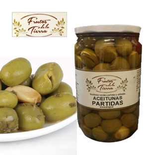 Split and seasoned olives FRUTOS DE LA TIERRA 730GR